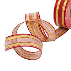 Metallic Ribbons Plain - Ribbon Woven Mesh Stripe Red Gold Wired Edge (30mmx10m)