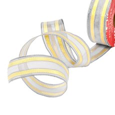 Christmas Ribbons & Bows - Ribbon Woven Mesh Stripe Silver Gold Wired Edge (30mmx10m)