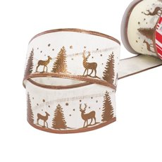 Christmas Ribbons & Bows - Ribbon Linen Deer Brown Wired Edge (60mmx10m)