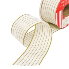 Christmas Ribbons & Bows - Ribbon Thin Mesh Stripe Gold Wired Edge (50mmx10m)