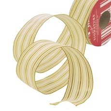 Metallic Ribbons Plain - Ribbon Thin Mesh Double Lines Goldd Wired Edge (40mmx10m)