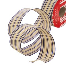 Metallic Ribbons Plain - Ribbon Thin Mesh Double Lines Navy Wired Edge (40mmx10m)
