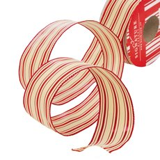 Metallic Ribbons Plain - Ribbon Thin Mesh Double Lines Red Wired Edge (40mmx10m)