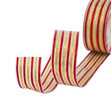 Metallic Ribbons Plain - Ribbon Mesh Duo Lines Red Gold Wired Edge (40mmx10m)