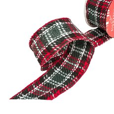 Christmas Ribbons & Bows - Ribbon Fabric Tartan Blue Red Wired Edge (50mmx10m)