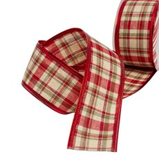 Christmas Ribbons & Bows - Ribbon Linen Tartan Yellow Red Wired Edge (50mmx10m)