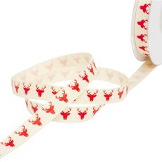 Christmas Ribbons & Bows - Ribbon Twill Herringbone Reindeer Red (10mmx10m)