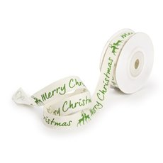 Christmas Ribbons & Bows - Ribbon Cotton Christmas and Deer Green (15mmx10m)