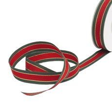 Christmas Ribbons & Bows - Ribbon Grosgrain Traditional Red Green Gold (15mmx20m)