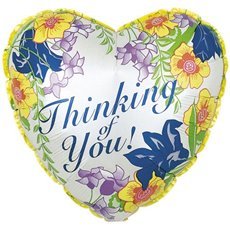Foil Balloons - Foil Balloon 17 (42.5cm Dia) Heart Thinking of You Floral