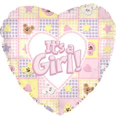 Foil Balloons - Foil Balloon 17 (42.5cm Dia) Heart Its A Girl