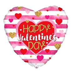 Foil Balloons - Foil Balloon 17 Heart Happy Valentines Day Stripes