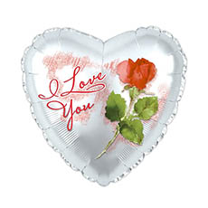 Foil Balloons - Foil Balloon 17 I Love You Heart Shape with Rose