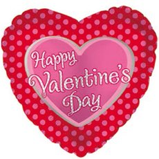 Foil Balloon 17  Happy Valentine's Day Polka Dots