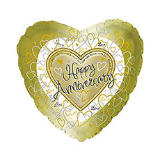 Foil Balloons - Foil Balloon 17(42.5cm Dia) Happy Anniversary Heart Gold