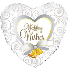 Foil Balloon 17 (42.5cm Dia) Heart Wedding Wishes Bells