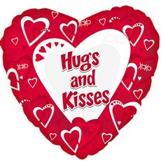 Foil Balloons - Foil Balloon 17 (42.5cm Dia) Heart Hugs and Kisses Red