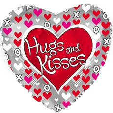 Foil Balloon 17 HEART Hugs and Kisses Silver Border