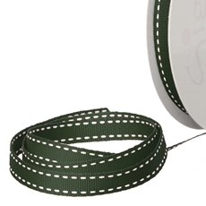 Grosgrain Ribbons - Ribbon Grosgrain Saddle Stitch Dark Green (10mmx20m)