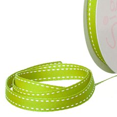 Grosgrain Ribbons - Ribbon Grosgrain Saddle Stitch Lime (10mmx20m)
