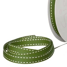 Grosgrain Ribbons - Ribbon Grosgrain Saddle Stitch Moss (10mmx20m)