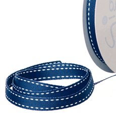 Grosgrain Ribbons - Ribbon Grosgrain Saddle Stitch Navy (10mmx20m)