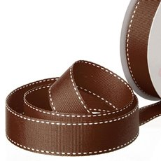 Grosgrain Ribbons - Ribbon Grosgrain Saddle Stitch Chocolate (25mmx20m)
