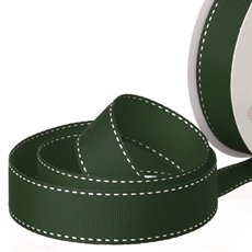 Grosgrain Ribbons - Ribbon Grosgrain Saddle Stitch Dark Green (25mmx20m)
