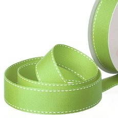 Grosgrain Ribbons - Ribbon Grosgrain Saddle Stitch Lime (25mmx20m)