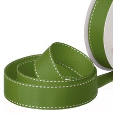 Grosgrain Ribbons - Ribbon Grosgrain Saddle Stitch Moss (25mmx20m)