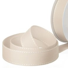 Grosgrain Ribbons - Ribbon Grosgrain Saddle Stitch Natural (25mmx20m)