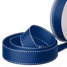 Grosgrain Ribbons - Ribbon Grosgrain Saddle Stitch Navy (25mmx20m)