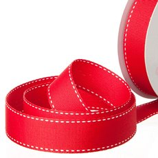 Grosgrain Ribbons - Ribbon Grosgrain Saddle Stitch Red (25mmx20m)