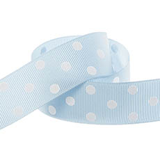 Ribbon Grosgrain Polka Dots Baby Blue (25mmx20m)