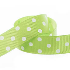 Ribbon Grosgrain Polka Dots Lime (25mmx20m)