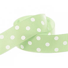 Ribbon Grosgrain Polka Dots Mint (25mmx20m)