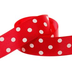 Grosgrain Ribbons - Ribbon Grosgrain Polka Dots Red (25mmx20m)