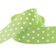 Ribbon Grosgrain Polka Dots Lime (38mmx20m)