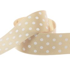 Ribbon Grosgrain Polka Dots Natural (38mmx20m)