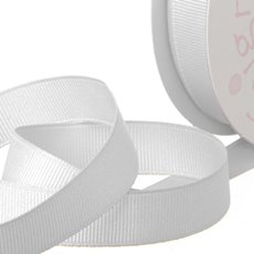 Grosgrain Ribbons - Ribbon Plain Grosgrain White (25mmx20m)