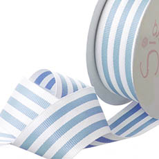 Grosgrain Ribbons - Ribbon Grosgrain Stripes Baby Blue (38mmx20m)