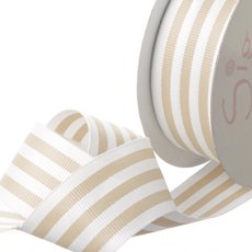 Grosgrain Ribbons - Ribbon Grosgrain Stripes Natural (38mmx20m)