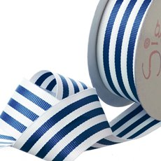 Grosgrain Ribbons - Ribbon Grosgrain Stripes Navy (38mmx20m)