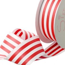 Grosgrain Ribbons - Ribbon Grosgrain Stripes Red (38mmx20m)