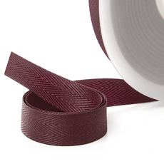Herringbone Twill Ribbon - Ribbon Twill Herringbone Burgundy (15mmx20m)