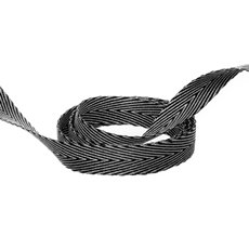 Herringbone Twill Ribbon - Duo Herringbone Ribbon Black & White (10mmx20m)