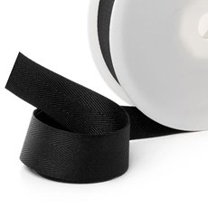 Herringbone Twill Ribbon - Ribbon Twill Herringbone Black (25mmx20m)