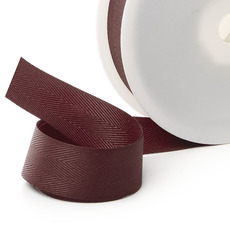 Herringbone Twill Ribbon - Ribbon Twill Herringbone Burgundy (25mmx20m)