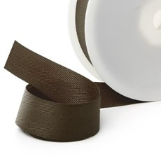 Herringbone Twill Ribbon - Ribbon Twill Herringbone Chocolate (25mmx20m)