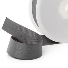Herringbone Twill Ribbon - Ribbon Twill Herringbone Grey (25mmx20m)